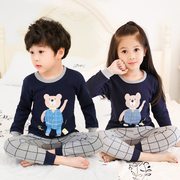 The child of spring cotton children's long johns suit men's baby girls underwear in cotton pajamas