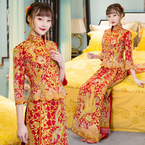 Show WO suit the new dragon and Phoenix gown Chinese Bridal wedding costume wedding dress toast clothing bride 2018 show and spring summer