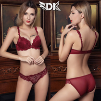 Sexy lace gather to adjust the pair of red breast bra set