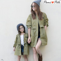 Spring mother-daughter mother and children neuter Korean cotton trench coat