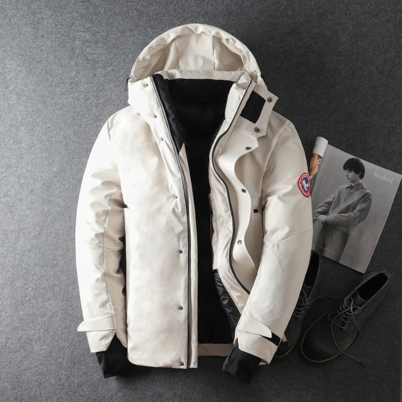 Down jacket men 2020 new winter white duck down handsome and explosive tooling hooded short men's jacket trend
