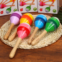 Kindergarten activities Musical Instruments baby boy soothing toy sand hammer wooden wooden grip ringing bell 0-1 year old early education