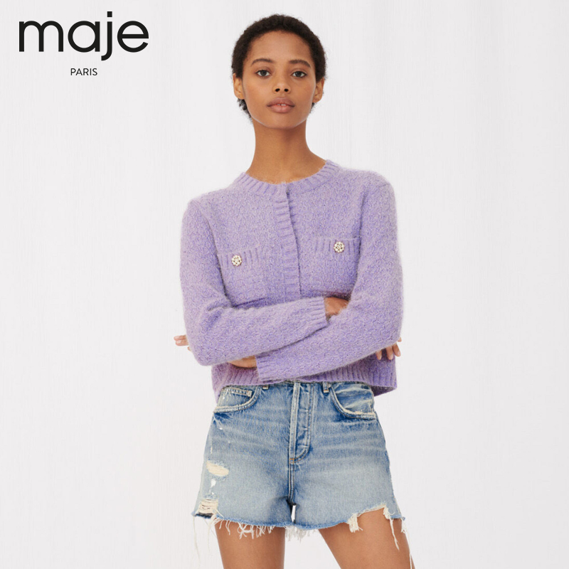 Maje2021 spring summer new womens round-neck jewelry deduction age knitted jacket MFPCA00163