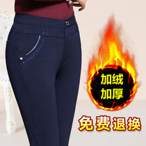 Winter plush thickening middle-aged straight tube mother pants