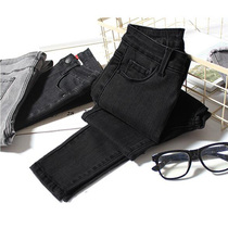 Counter black jeans women spring and Autumn high waist slim slim thin tight stretch nine points feet pencil pants