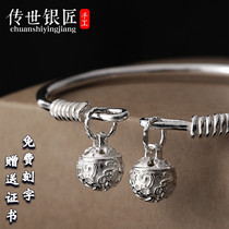 Hand-passed 999 sterling silver anklet anklet Palace Bell female adult hand retro foot silver bracelet foot ring silver bell ring