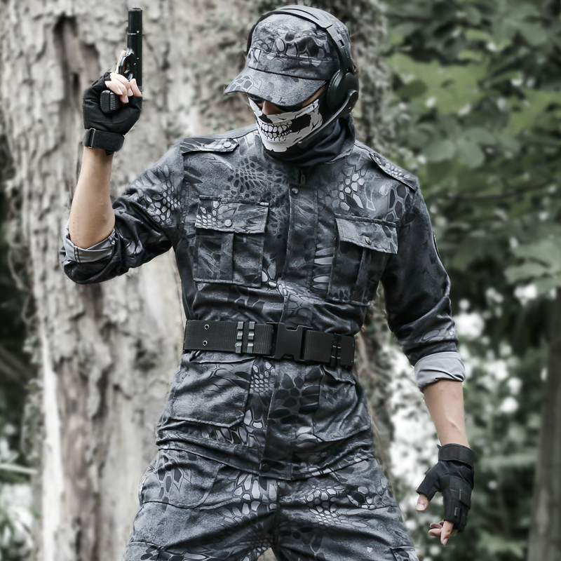 Genuine black Python camouflage suit for men in spring and Autumn