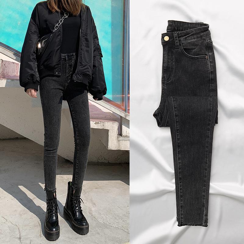 Autumn winter 2020 gray and black jeans women high waist thin tight feet new plus-on pants wear