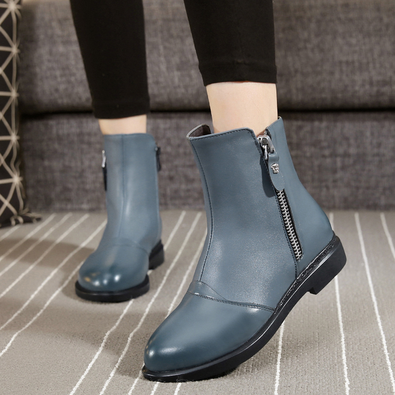 Fall 2019 New Large Size Women's Shoes 41-43 British Martin Boots Spring and Autumn Single Leather Flat-soled Women's Shoes