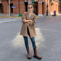 Suit jacket women spring and autumn middle-length 2021 net red new casual loose Korean version of the small suit top tide