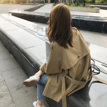 Khaki windshield womens middle-length small loose autumn 2020 new autumn short fashion mid-style jacket
