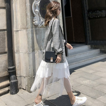 Grey plaid suit jacket womens spring autumn 2021 new Korean version loose casual plaid small suit top