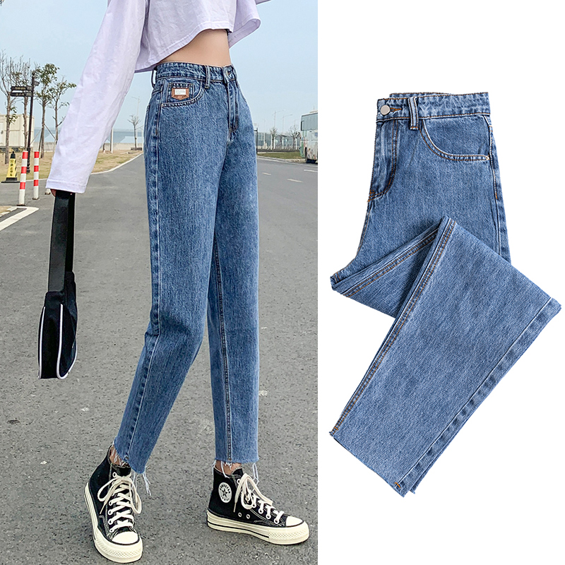 Light-colored jeans womens spring 2021 new small loose-fitting straight pants summer student high-waisted dad pants