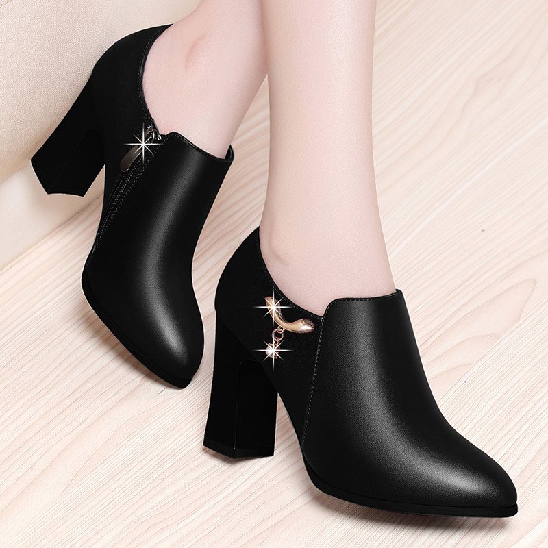 Spring and Autumn 2019 New High-heeled and Rough-heeled Single Shoes for Middle-aged Mothers