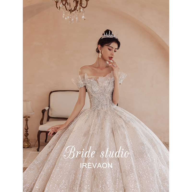 Ian (Princess Cissy) high-end one-word shoulder star sky 2020 new bridal temperament main wedding dress tail