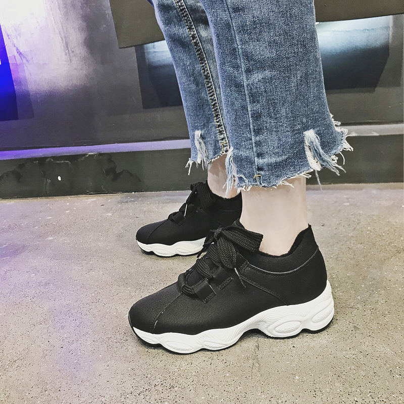 Cotton-flocked Shoes Female Fall and Winter 2018 New Fashion Hundreds of Students Winter Shoe Port Windshield Shoes Korean Edition Female Shoe Tide