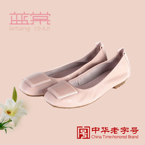 Lan Tang 1061 round flat with light leather shoes d1060 Sheepskin womens shoes shoes 2017 counter new