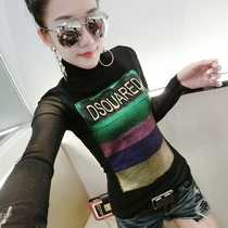 Plush Autumn fashion gauze screen high-collar letter printing T-shirt