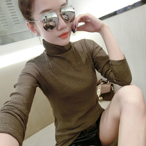 High-collar bright silk fashion self-cultivation show thin Bottom shirt