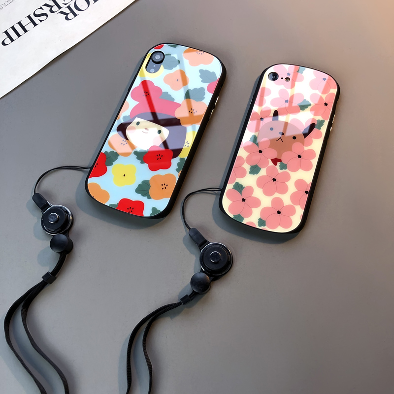 Shield glass petal iPhone 8 plus mobile phone case Apple 8 Hangzhou 7 hanging rope Xs Max tide XR female personality 678 tide