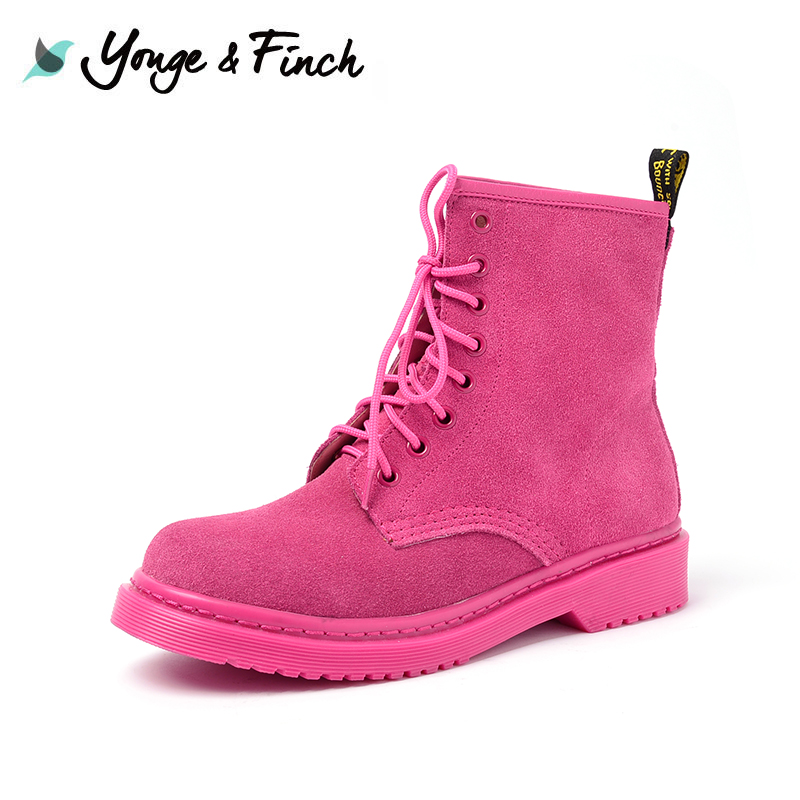 Yonge Finch / Yang Fen 缇 2018 autumn new fashion Martin boots female flat bottom strap women's shoes 5P414
