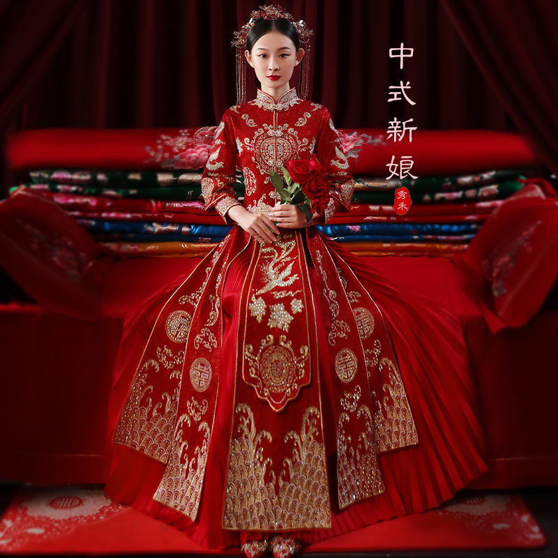 Show clothes 2020 new bride wedding Chinese-style out of the pavilion toast dress Dragon Phoenix hanging wedding dress winter phoenix crown 帔