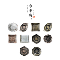 Metal cup mat alloy cup to Japanese-style copper tea tote bronze cup pad lotus leaf metal tea mat kung fu tea with tea ceremony