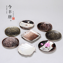 Today Fengtang handmade alloy teacum mat insulation pad pot to Japanese kung fu tea tea with tea ceremony accessories teacest mat tea tray
