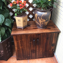 Outdoor solid wood cabinet carbonized anticorrosive Wood locker balcony shoe cabinet Xuan Guan Cabinet Garden courtyard storage cabinet