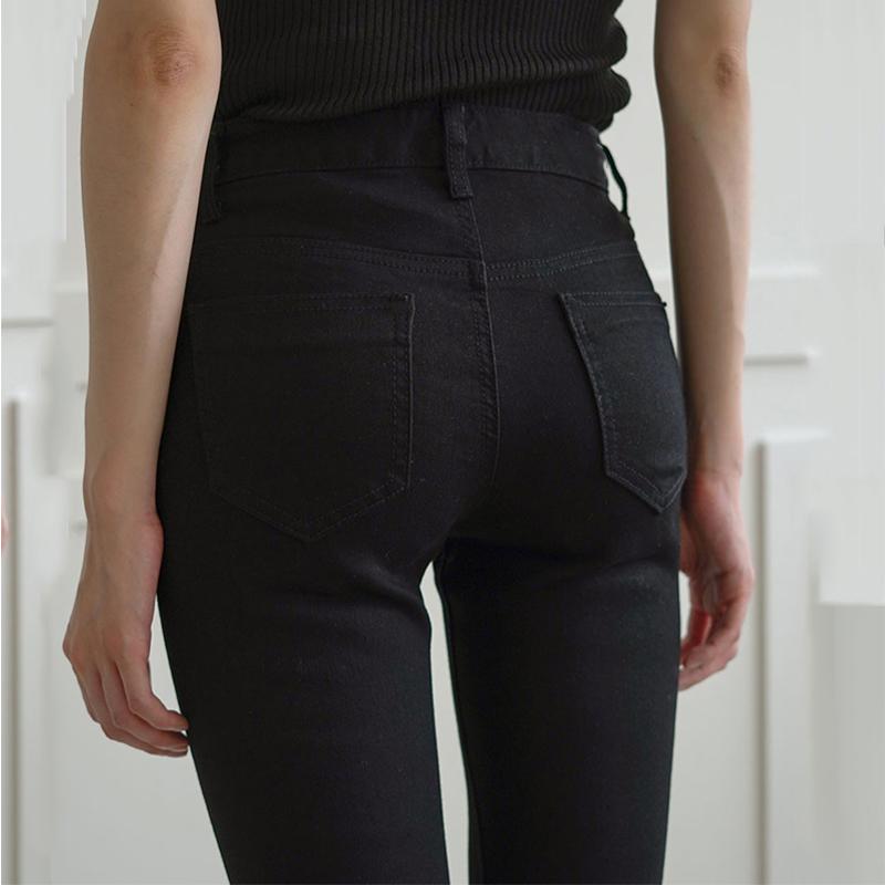 Pure black jeans womens trousers spring and autumn show thin elastic tight narrow tube pants thin legs high waist nine plus plus-down pants