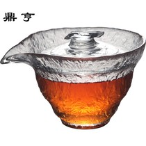 Dingheng new product Japan early snow hammer pattern glass cover bowl Teacup thickened heat-resistant hand grab pot large tea maker 2
