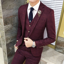 Groom wedding suits men's plaid three-piece suit small suits men's suite groomsmen dress Korean version of the self-cultivation