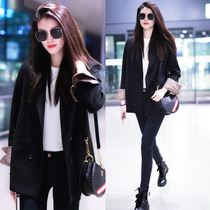 sandro Moscoloni suit jacket female star with Korean version spring and autumn retro casual black suit