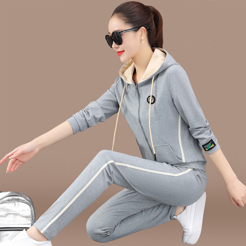 Sports Suit Womens Spring Autumn 2021 New large size loose-sleeved hooded sweatshirt two-piece casual running suit