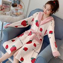 Коралловая бархатная пижама женская осень и зима длинная утолщенная фланелевая халат можно носить за пределами ночной юбки красный милый