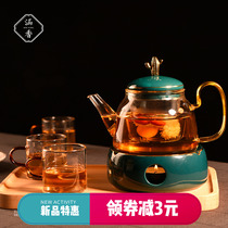 Culvert tea set set light luxury fruit teacum set afternoon tea set candle heating teapot insulation flower teapot