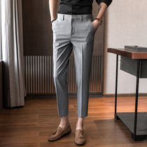 Slim foot Thin Section Korean version of the trend of casual 9-cent suit pants