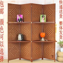 Special straw rattan screen partition fashion mobile Chinese solid wood Xuan Guan folding screen office living room bedroom Hotel