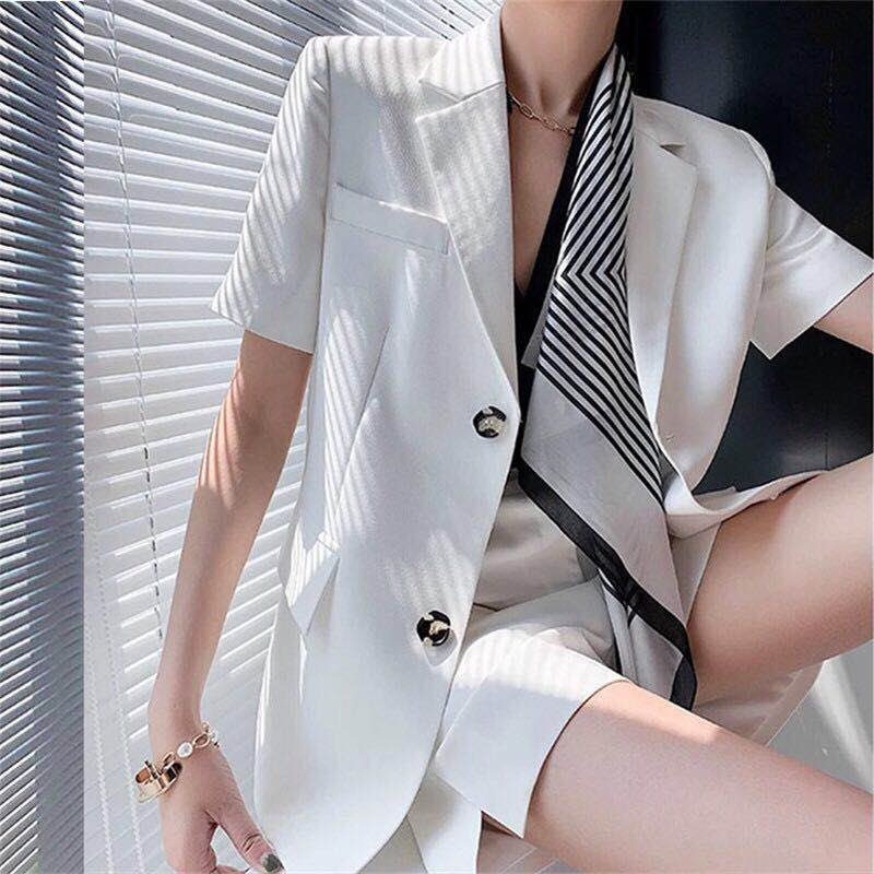Korean counter womens suit summer thin OL casual short-sleeved suit fashion professional suit shorts two-piece set