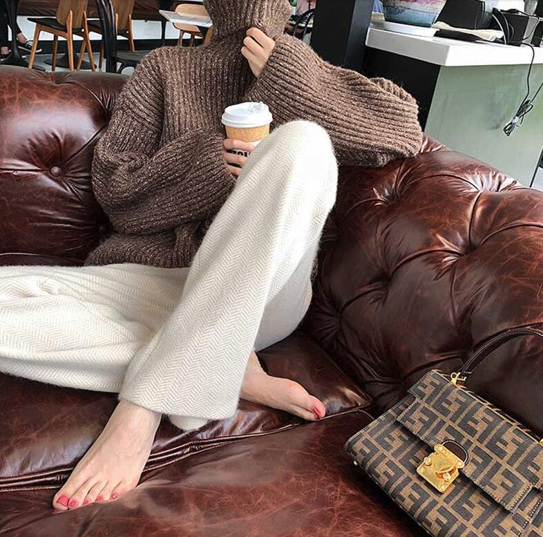 South Korean wide-legged pants with human character patterned hair pants loose-fitting autumn winter straight barrel thick womens wool cashmere trousers