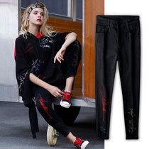 Original street fashion black embroidered stretch skinny feet pants
