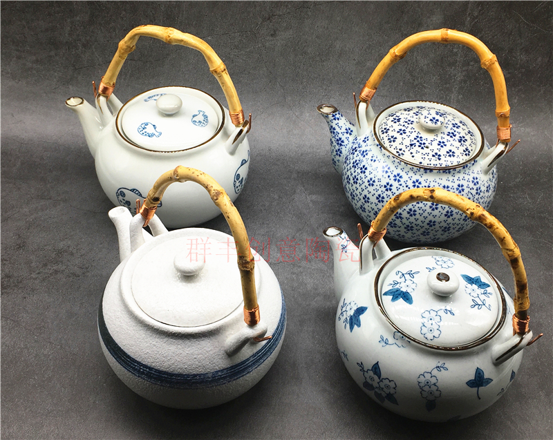 Japanese-style ceramic teapot, teapot, seafood pot, hand-painted soup pot, earthen pot, steamed China pot, Japanese and Korean cooking tableware