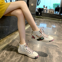 Hong Kong purchasing genuine leather high-top womens 2020 spring new reflective canvas shoes ins Super fire casual womens shoes
