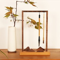 Medium to the United States far mountain pen hanging pen rack black walnut cherry wood solid wood brush hanging calligraphy room