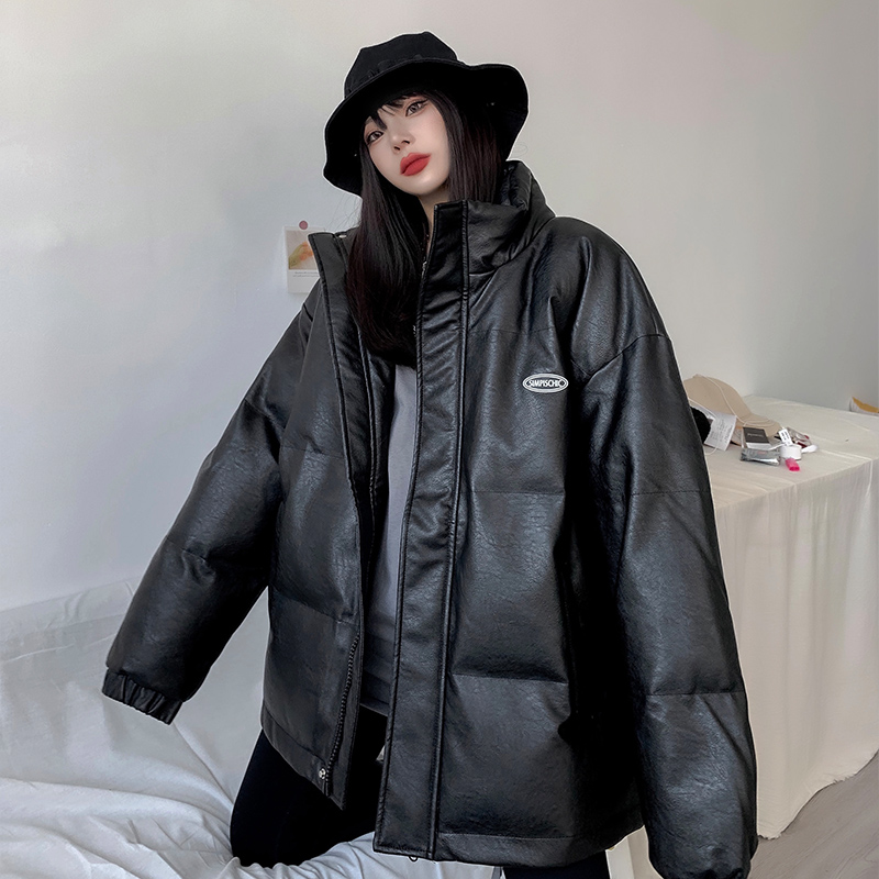 Pu leather cotton clothing womens oversize tide 2020 new loose Korean version of the winter size bread clothing cotton coat