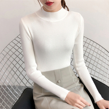 In autumn and winter, 2018 new half high collar collar short sweaters, female Han edition, body tight, long sleeved, bottoming knitted sweater.