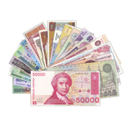 Shipping new foreign notes in 20 countries in 20 selected 20 foreign coins of foreign currency