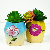 Chinese wind hand color flower pots ceramic large-calibre hand-painted multi-meat plant potted set combination large basin