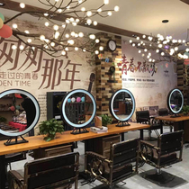 New double-sided hair tide brand led mirror hair salon hair solid wood mirror Taichung Barber Shop solid wood hot dyeing table