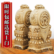 Stone carving door Pier lion head a pair of Chinese blue stone antique drum stone elephant home town house white jade ornaments Pixiu